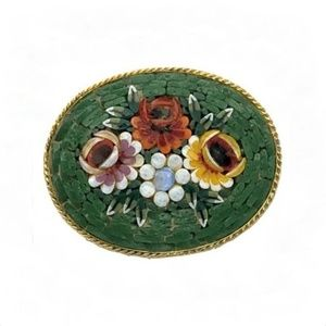 Micro Mosaic Millefiori Brooch Pin Flowers Green